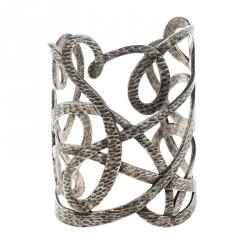 Saint Laurent Paris Textured Cut-out Silver Tone Open Cuff Bracelet