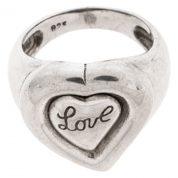 Saint Laurent Paris Sterling Silver Love Ring Size 54