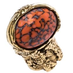 Saint Laurent Paris Arty Coral Glass Cabochon Gold Tone Ring Size 56