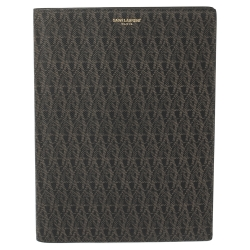 Saint Laurent Dark Brown Printed Coated Canvas A5 Notebook Cover