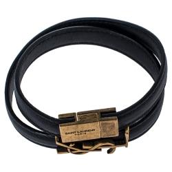Saint Laurent Paris Opyum Black Leather Gold Tone Double Wrap Bracelet