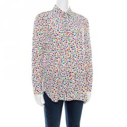 f100bbb5f00 Saint Laurent Paris Multicolor Star Printed Silk Long Sleeve Button Front  Shirt XL