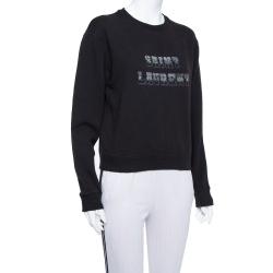 Saint Laurent Paris Black Knit Logo Foil Print Sweatshirt M