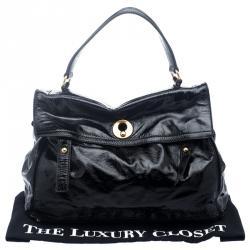 Saint Laurent Black Patent Leather Large Muse Two Satchel
