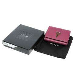Saint Laurent Pink Leather Y Line Compact Wallet