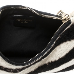 Saint Laurent Paris Black /Off White Zebra Print Pony Hair and Leather Hobo