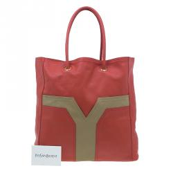 Saint Laurent Paris Red Leather Lucky Chyc Tote
