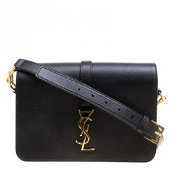 footwear vast selection clearance prices Saint Laurent Black Leather Medium Monogram Université Flap ...