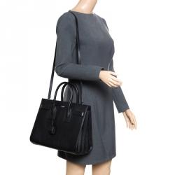 4b7cc3becb51 Saint Laurent Black Leather Small Classic Sac De Jour Top Handle Bag
