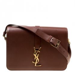 477e8fa4ef Saint Laurent Dark Brown Leather Medium Monogram Université Flap Bag