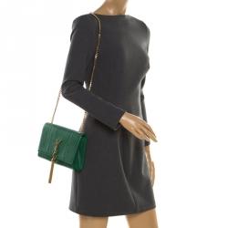 Saint Laurent Green Python Kate Monogram Shoulder Bag