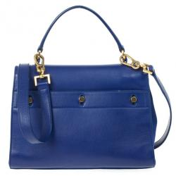 Saint Laurent Blue Granulated Calf Leather New Muse Two Bag