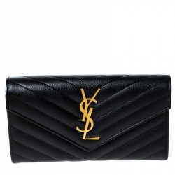 Saint Laurent Paris Black MatelassГѓВ© Leather Monogram Flap Wallet