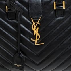 Saint Laurent Black Matelasse Leather Small Monogram Cabas Tote