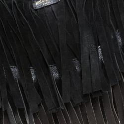 Saint Laurent Paris Black Suede Fringe Mombasa Hobo