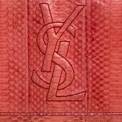 Saint Laurent Red Python Belle De Jour Flap Clutch