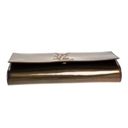 Saint Laurent Brown Patent Leather Belle De Jour Flap Clutch