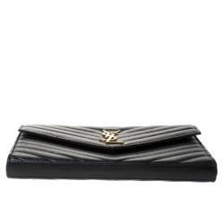 Saint Laurent Black Matelasse Leather Monogram Chain Clutch