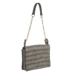 Saint Laurent Grey Croc Embossed Nubuck Leather Catwalk Shoulder Bag