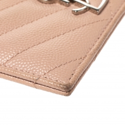 Saint Laurent Light Pink Matelasse Grained Leather Monogram Card Holder