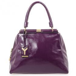 5b0be72ce798 Yves Saint Laurent Purple Patent Majorelle Framed Satchel