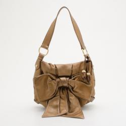Yves Saint Laurent Gold Leather Bow Bag