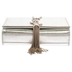 Saint Laurent Metallic Silver Leather Small Kate Tassel Crossbody Bag