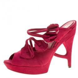 0bad0dd8f4c Saint Laurent Paris Magenta Suede Rose Petal Detail Peep Toe Platform Sandals  Size 38.5
