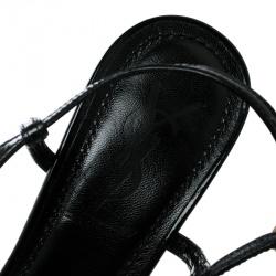 Saint Laurent Paris Black Patent Leather Strappy Platform Sandals Size 36