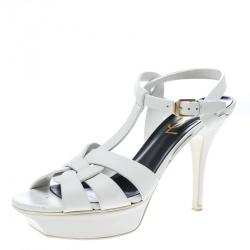 Saint Laurent Paris White Leather Platform Tribute Sandals Size 37