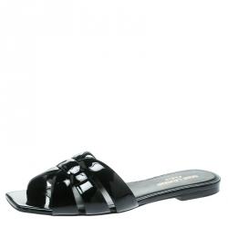 Saint Laurent Paris Black Patent Leather Tribute Flat Slides Size 36 .5
