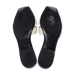 Saint Laurent White Patent Leather Tribute Slides Size 35.5