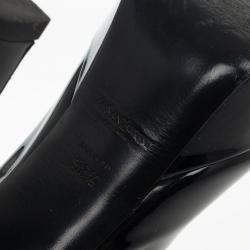 Saint Laurent Paris Black Patent Palais Curvy Platform Pumps Size 38.5