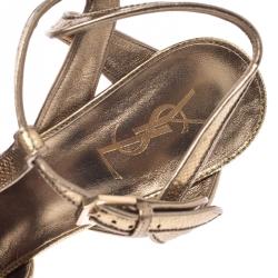Saint Laurent Paris Metallic Gold Leather Tribute Platform Strap Sandals Size 37