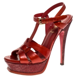 Saint Laurent Paris Metallic Red Patent Leather And Stringray Trim Tribute Platform Sandals Size 35.5