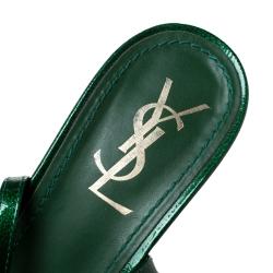 Saint Laurent Paris Green Patent Leather Multicolor Cork Heels Ankle Strap Sandals Size 40