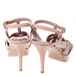 Saint Laurent Paris Beige Patent Leather Tribute Platform Ankle Strap Sandals Size 39