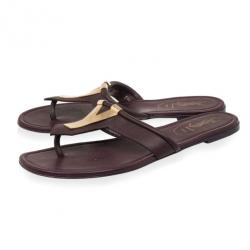 Yves Saint Laurent Purple Leather Ycon Slippers Size 39.5