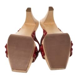 Saint Laurent Paris Brown/Red Polka Dot Printed Fabric Cross Strap Wooden Slides Size 41