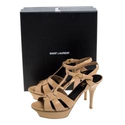 Saint Laurent Paris Beige Patent Leather Tribute Sandals Size 39