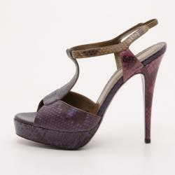Yves Saint Laurent Multicolor Snake Platform Sandals Size 41