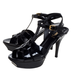 Saint Laurent Paris Black Patent Leather Tribute Platform Sandals Size 37