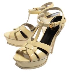 Saint Laurent Cream Patent Leather Tribute Platform Sandals Size 39