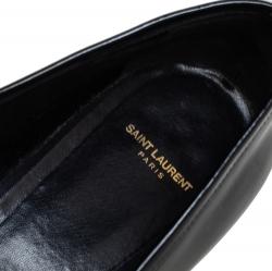 Saint Laurent Black Patent Leather Deven Loafers Size 38