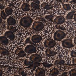 Salvatore Ferragamo Peacock Feather Printed Silk Draped Sleeveless Dress L