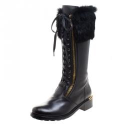 Salvatore Ferragamo Black Leather And Fur Trim Lapo Tall Combat Boots Size 39.5