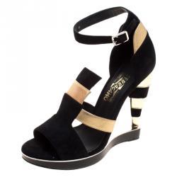 8271767f156 Salvatore Ferragamo Black Suede and Gold Leather Lexus Platform Sandals  Size 39.5