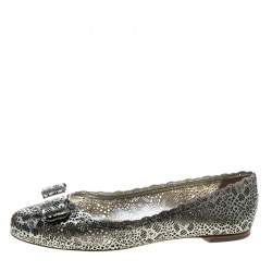 Salvatore Ferragamo Metallic Grey Perforated Leather Varina Bow Ballet Flats Size 39