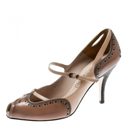 bd0cc0d681492 Salvatore Ferragamo Beige Brogue Leather Peep Toe Mary Jane Pumps Size 38.5