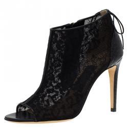 7bb227f85898 Salvatore Ferragamo Black Python Lace Nufus Peep Toe Ankle Boots Size 36.5